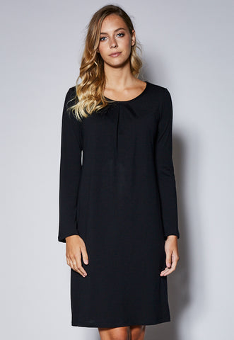 D25 Bell Sleeve Pleat Neck Detail Merino Dress