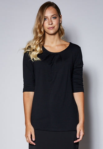 KNIT15Q 3/4 Sleeve Pleat Neck Detail Merino Top