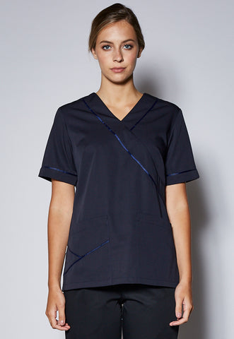 SCT11 Female Contrast Trim Scrub Top