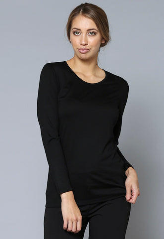 T30545 Long Sleeve Merino Crew Neck Top