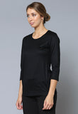 T30546 ¾ Sleeve Merino Crew Neck Top