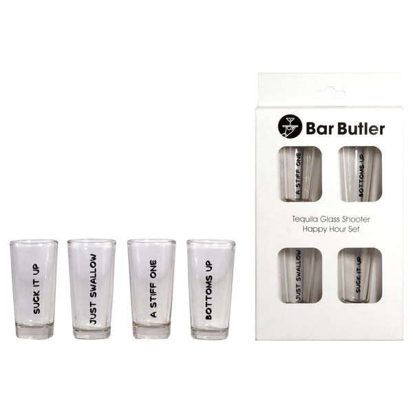 BAR BUTLER TEQUILA GLASS SHOOTER 25ML 4PC HAPPY HOUR SET