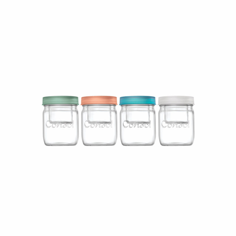 CONSOL JAR-IN-JAR WITH ASSORTED COLOURED LIDS, 500ML (115X90MM DIA)