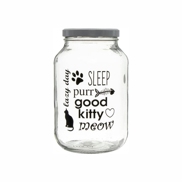 REGENT GLASS JAR WITH CAT PRINT AND WHITE LID, 3LT (240X148MM DIA)