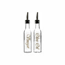 REGENT SQUARE OIL & VINEGAR BOTTLE WITH OIL/VINEGAR DECAL GOLD LID POURER (250ML)