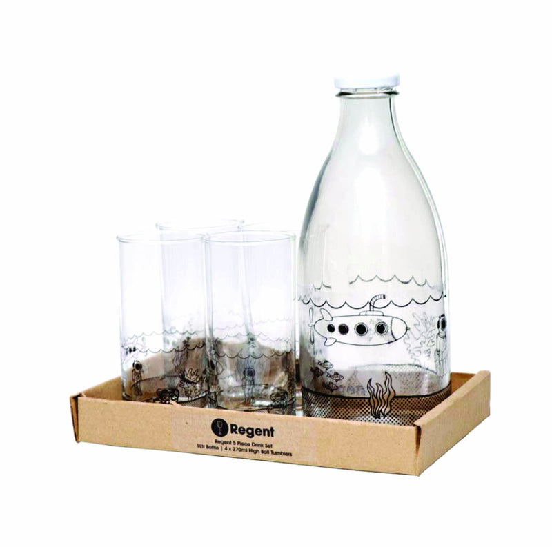 REGENT DRINK SET UNDER THE SEA SUBMARINE 5PC (1LT BOTTLE & 4 HIGH BALL TUMBLERS)