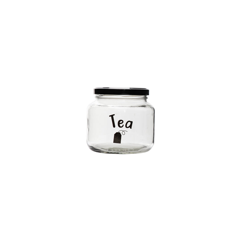 REGENT GLASS TEA CANISTER WITH BLACK LID (500ML)
