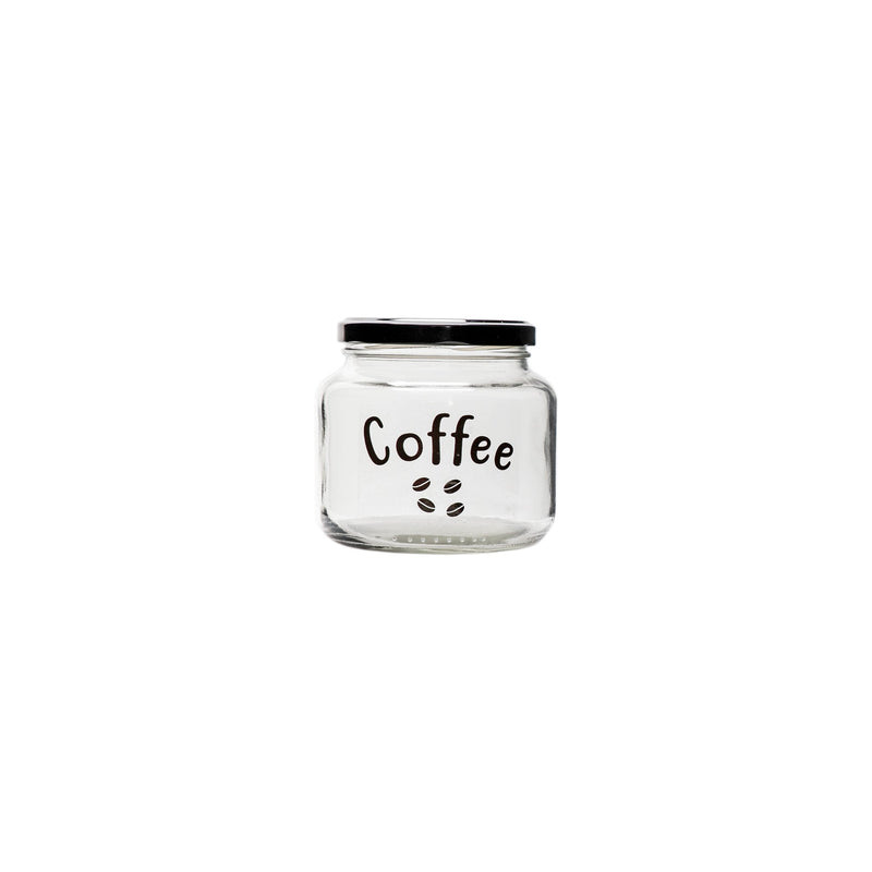REGENT GLASS COFFEE CANISTER WITH BLACK LID (500ML)