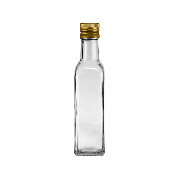 CONSOL SQUARE OIL/VINEGAR BOTTLE WITH GOLD LID (250ML)