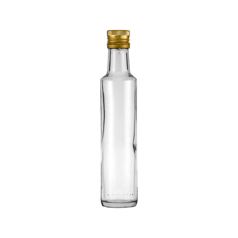 CONSOL ROUND OIL/VINEGAR BOTTLE WITH GOLD LID (250ML)