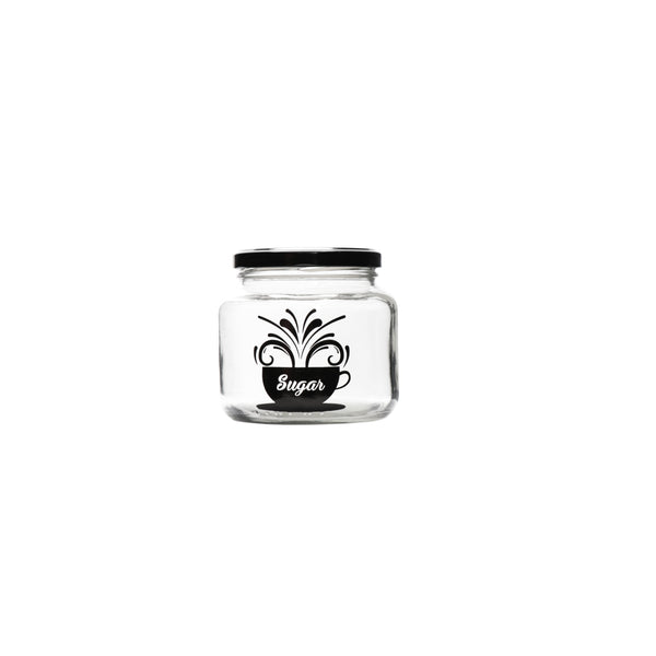 REGENT GLASS SUGAR CANISTER WITH BLACK LID (500ML)