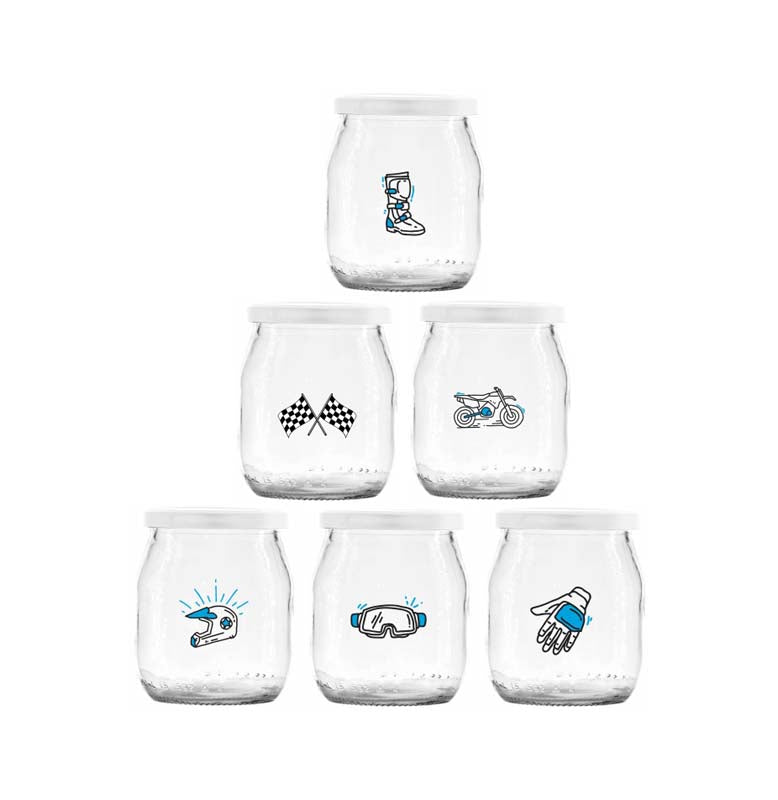 YOGI JARS WITH DIRT BIKE PRINTS & PLASTIC LID, 6 PACK (150ML)