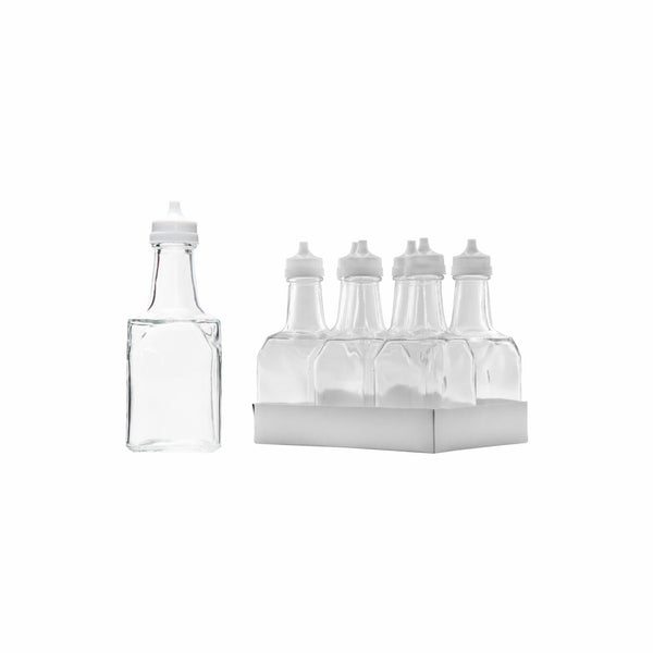 REGENT SQUARE GLASS OIL & VINEGAR BOTTLES W/WHITE PLASTIC POURERS, 6 PACK (200ML)
