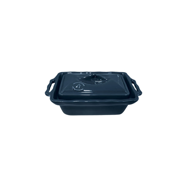 APPOLIA SLATE BLUE TERRINE WITH LID, 400ML (205X117X84MM)