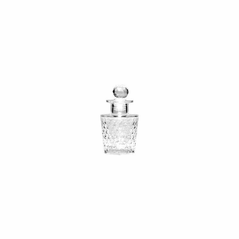 REGENT GLASS PERFUME BOTTLE ROUND FACETED WITH PLASTIC BALL STOPPER, 100ML (65MM:DX115MM)