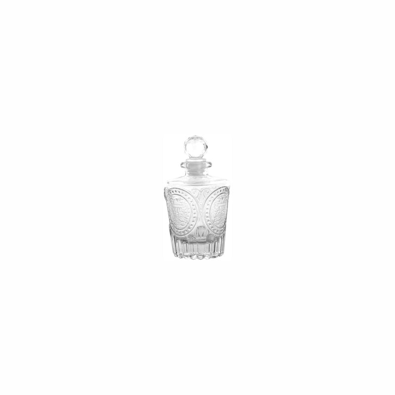 REGENT GLASS PERFUME BOTTLE TAPERED FACETED WITH LID, 140ML (65MM:DX88MM)