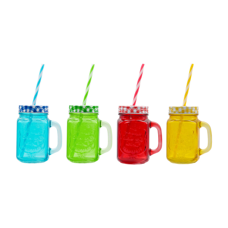 REGENT ASSORTED COLOURED MASON JARS WITH CHECKED LID & STRAWS (450ML)