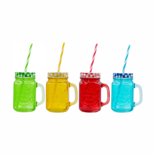 REGENT MASON JARS IN ASSORTED COLOURS WITH LIDS & STRAWS (450ML) (105X78X135MM)