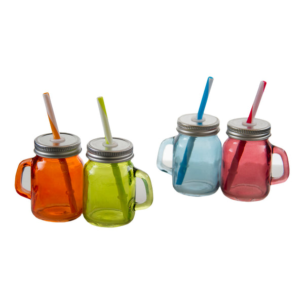 REGENT MINI MASON JARS IN ASSORTED COLOURS WITH LIDS & STRAWS , 4 PACK (140ML) (73X55X80MM)