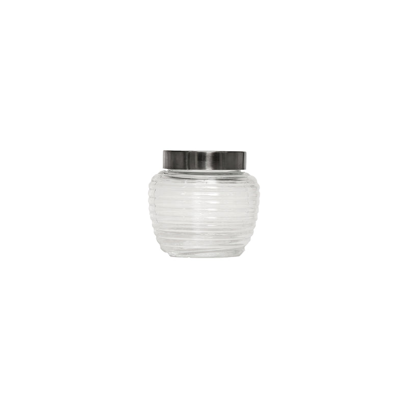 REGENT GLASS RIBBED CANISTER WITH S/STEEL & CLEAR PLASTIC LID 1.5L (150MM:DX140MM)