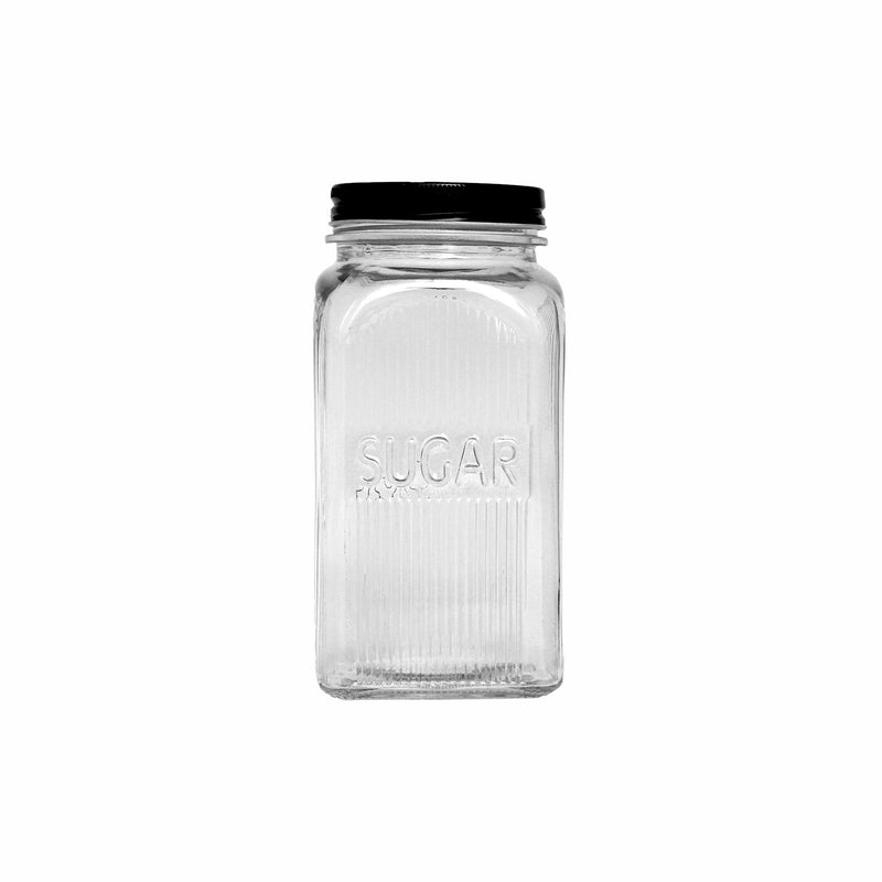 REGENT RIBBED SQUARE GLASS SUGAR CANISTER W/BLACK LID, 1.2LT (182X100X100MM)