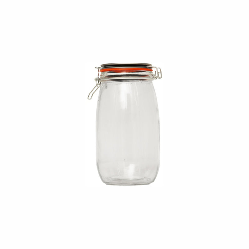 REGENT GLASS ROUND HERMETIC CANISTER WITH CLIP-SEAL METAL LID (1.45L) (120MM:DX215MM)