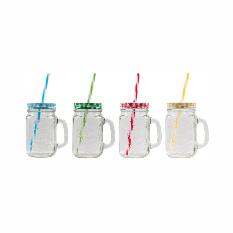 CONSOL MASON JARS WITH COLOURED LIDS & STRAWS 4 PIECE SET, (450ML)
