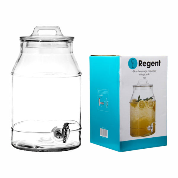 REGENT GLASS BEVERAGE DISPENSER WITH GLASS HANDLE LID, 7.5LT (330X230X200MM)