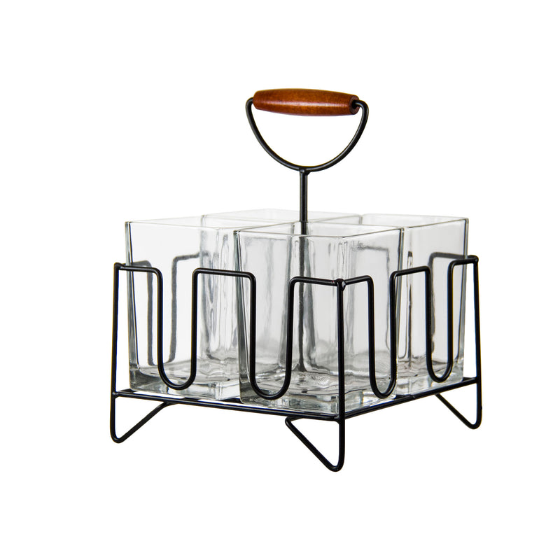 REGENT 4-SECTION GLASS CUTLERY CADDY WITH HANDLE (203X203X266MM)