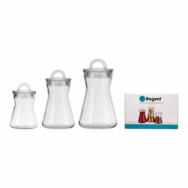 REGENT TAPERED CANISTERS WITH GLASS HANDLED LIDS, 3 PIECE SET (1.25L | 1L | 750ML)