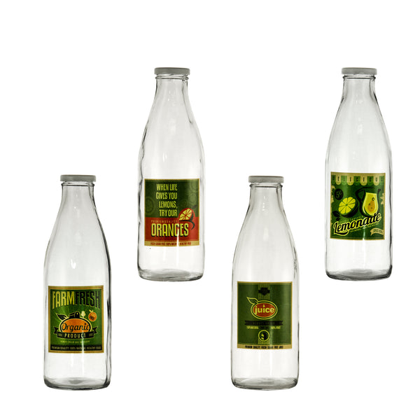 REGENT GLASS BOTTLE WITH ASST. FARM FRESH, LEMONADE, JUICE DESIGNS (970ML) (85MM:DX265MM:H)