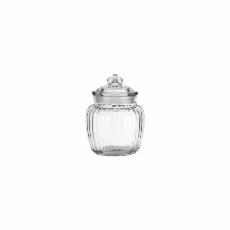 REGENT ROUND RIBBED CANISTER WITH GLASS LID (600ML) (115MM:DX150MM:H)