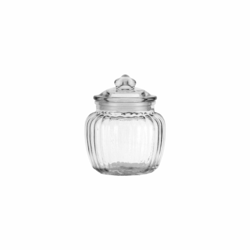 REGENT ROUND RIBBED CANISTER WITH GLASS LID (1.35L) (105MM:DX180MM:H)