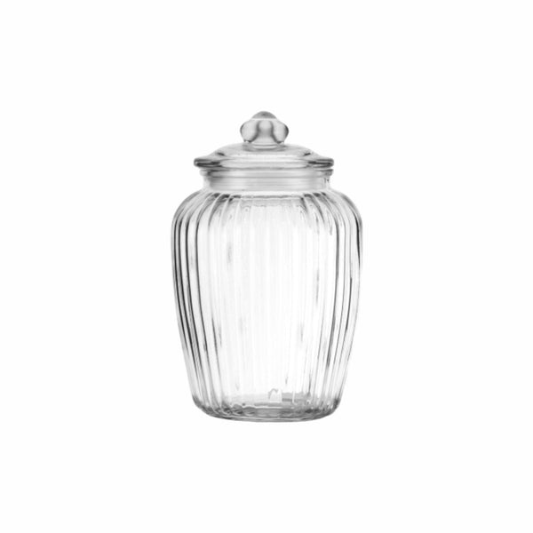 REGENT ROUND RIBBED CANISTER WITH GLASS LID (2.35L) (155MM:DX240MM:H)