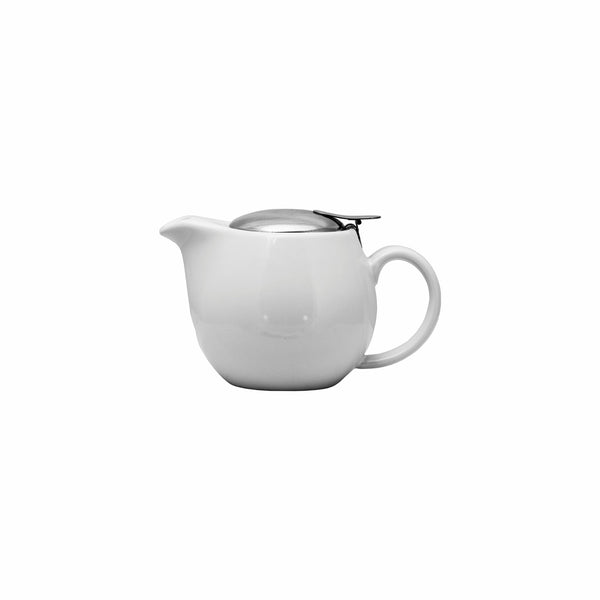 REGENT STONEWARE TEAPOT WITH S/STEEL LID & INFUSER WHITE GLOSS FINISH (400ML)