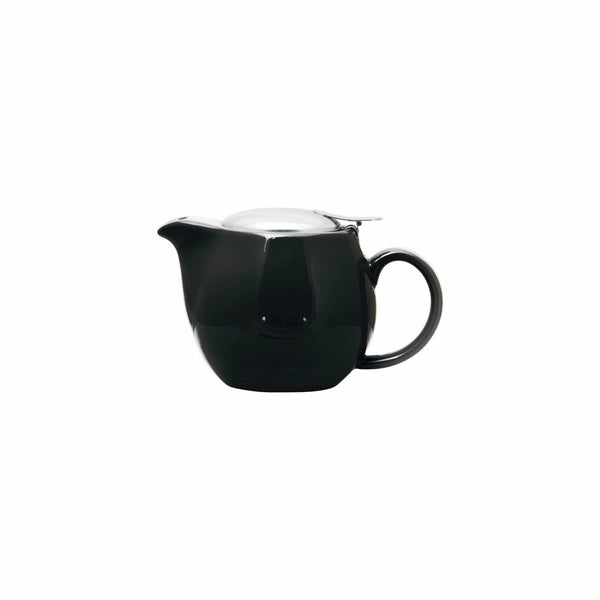 REGENT STONEWARE TEAPOT WITH ST STEEL LID & INFUSER BLACK GLOSS FINISH, (400ML)