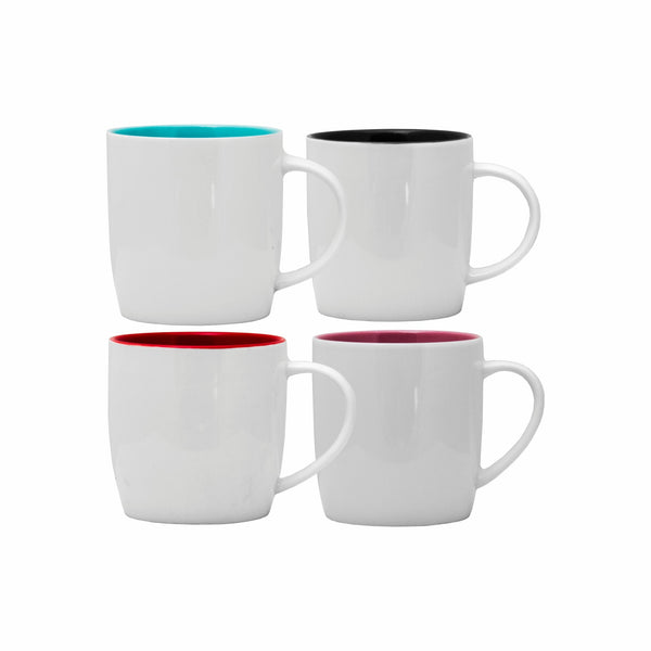 REGENT COFFEE MUG IN WHITE WITH ASSORTED COLOURS INSIDE (400ML)