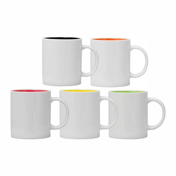 REGENT COFFEE MUG IN WHITE WITH ASSORTED COLOURS INSIDE (360ML)