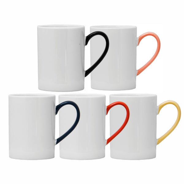REGENT COFFEE MUG IN WHITE WITH ASSORTED COLOURED HANDLES (450ML)