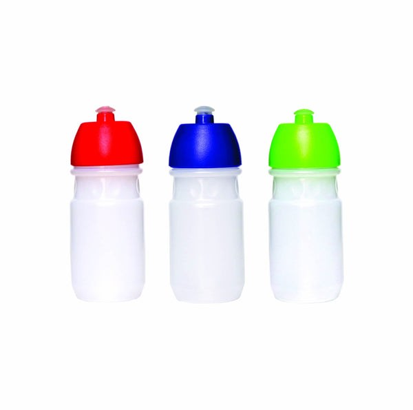 PLASTIC BOTTLE TRANSPARENT WITH ASSORTED COLOUR LID (500ML)