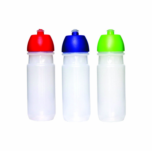 PLASTIC BOTTLE TRANSPARENT WITH ASSORTED COLOUR LID (700ML)