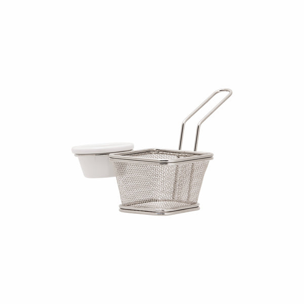 REGENT NICKEL PLATED CHIP FRYER SERVING BASKET WITH DIP HOLDER (135X190X130MM)