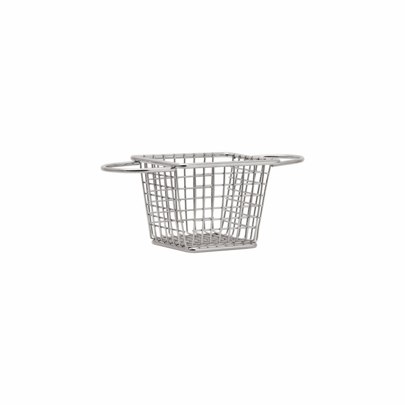 REGENT NICKEL PLATED CHIP FRYER SERVING BASKET WITH 2 HANDLES (190X85X70MM)