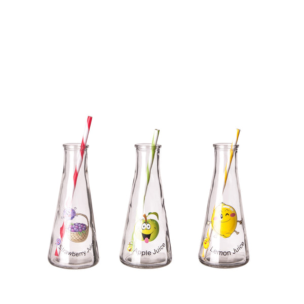 REGENT TAPERED GLASS BOTTLE WITH DECALS & STRAWS, 355ML (190X80MM DIA)