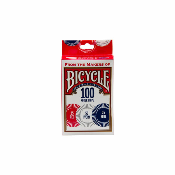 BICYCLE 2GRAM PLASTIC CHIPS, 100 PIECES