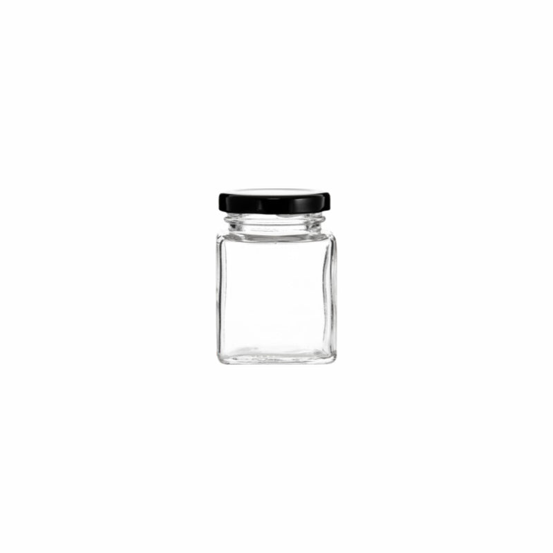 REGENT SQUARE JAR WITH BLACK LID, 12 PACK 100ML (53X53X75MM )