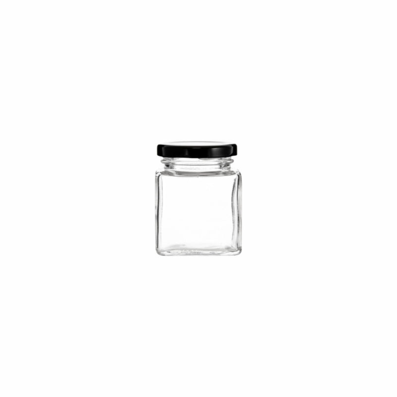 REGENT SQUARE JAR WITH BLACK LID 12 PACK, 80ML (54X50X50MM)