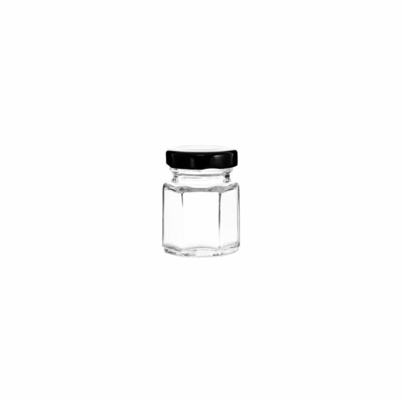 REGENT HEXAGONAL JAR WITH BLACK LID, 12 PACK 85ML (50MM:DX72MM)