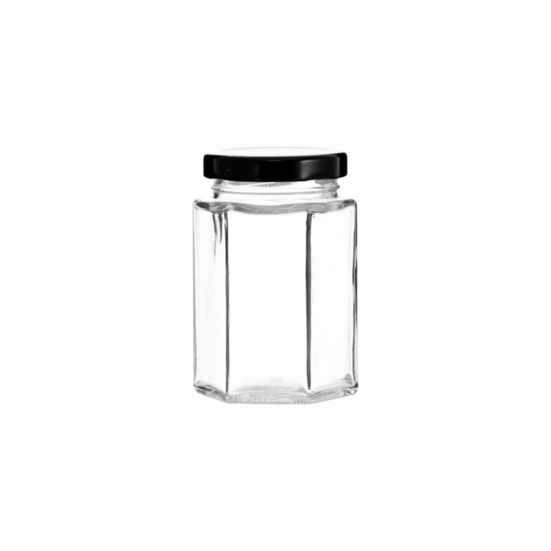 REGENT HEXAGONAL JAR WITH BLACK LID, 6 PACK 730ML