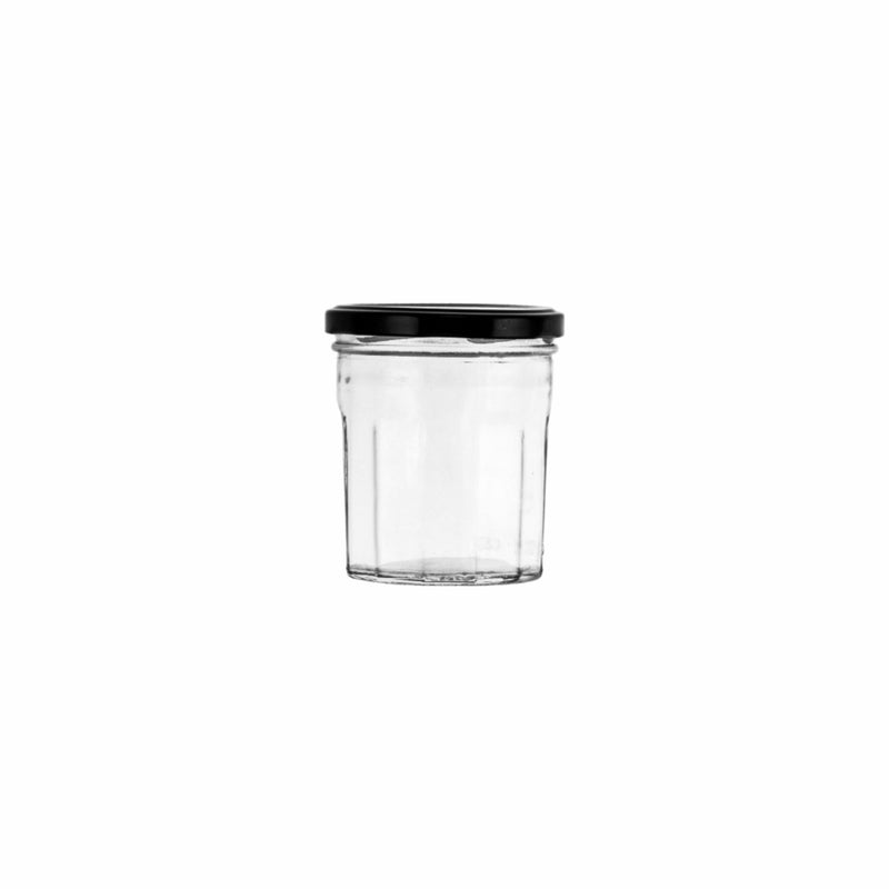 REGENT FACETED JAR WITH BLACK LID, 6 PACK (250ML) (85MM:DX96MM)